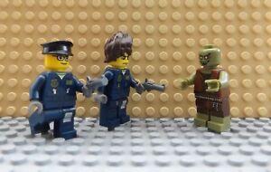 3 LEGO Brand New Mini Figures 2 Policemen & Gun Zombie Walking Dead TV Scene