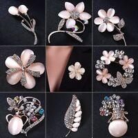 Elegant Weding Bridal Crystal Flower Vase Brooch Pin Women Breastpin Jewelry