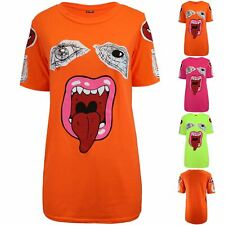 Women Short Sleeve Ladies Lips Monster Eyes Baggy Oversized Basic Casual T-shirt