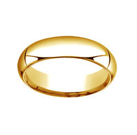 14K Yellow Gold 6mm High Dome Heavy Comfort-Fit Wedding Band Ring Size 6