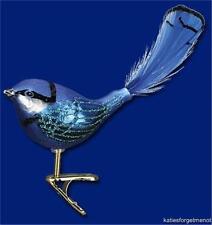 FAIRY WREN OLD WORLD CHRISTMAS GLASS CLIP ON BIRD W/FEATHER ORNAMENT NWT 18091