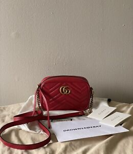 Authentic GUCCI Red GG Marmont Matelassé Mini Bag