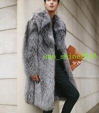 Men's Silver Gray Overcoat Luxury Fox fur Warm lapel Coat Warm Formal Trench new
