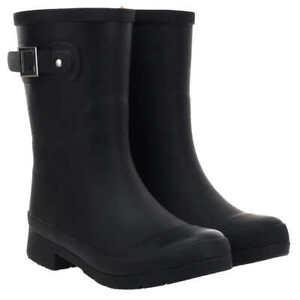 NEW Chooka Women's Delridge Mid Rain Boots Size 8 - Black Rubber