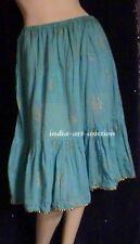 New Cotton Tier Skirt Gold Print Beach Boho Hippie Yoga Organic M Turquois Blue