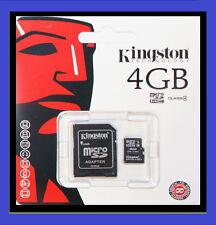 Nouveau 4 GO KINGSTON MICRO SD HC microsdhc + carte mémoire adaptateur téléphone mobile caméra