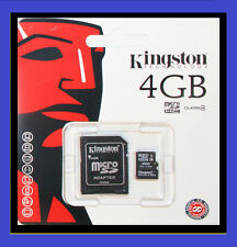 NEW 4GB KINGSTON MICRO SD HC MICROSDHC + ADAPTOR MEMORY CARD MOBILE PHONE CAMERA