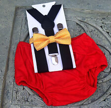 1st Birthday boy cake smash bow tie Red black yellow outfit 12 m  Mickey mouse