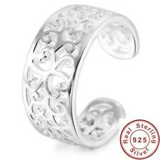 100% 925 Sterling Silver Toe Ring 9mm Band Knuckle Fully Adjustable Open Jewelry