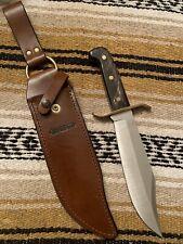 Vintage Western USA Buffalo Horn Handled W47 Smaller W49/V44 Bowie Knife W/Case