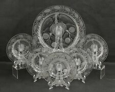 6Pc Antique Carved Intaglio Carved Cut Crystal Peaches Dessert Plates & Platter