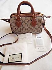 NWT $950 New Gucci GG Supreme Mini Boston Top-Handle Satchel Bag Cognac/Multi