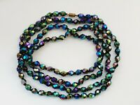 "Vintage 49"" 1950s Sparkly Aurora Borealis Faceted Glass Necklace"