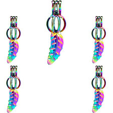 (5pcs Pack) Rainbow Color Leaf Beads Cage Pearl Locket Charms -C542