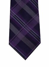 "Ryan Seacrest men neck tie necktie purple gray plaid 100% silk skinny 3"" new"