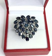 Solid .925 Silver Big Heart Shape Cluster Ring, Natural Sapphire 4TCW, Sz7.5