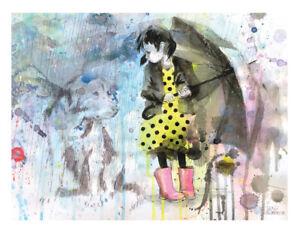 Lora Zombie 'Rain Dog' paper art print