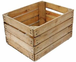 Large Rustic Wooden Slatted Fruit Apple Storage Welly Wine Crate Vintage Box