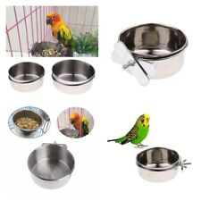 Stainless Steel Hanging Bowl Feeding Bowl Bird Dog Food Water Cage Cup Feeder