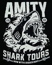 """Shark Tours"" Jaws Great White Amity Black Men's Large Shirt Teevillain"