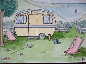 ACEO Original Watercolour Ink & Gouache - Retro Caravan seaside deckchairs sea