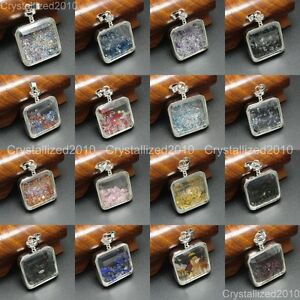 Natural Healing Gemstones Crystal Square Wishing Bottle Pendant Necklace Charms
