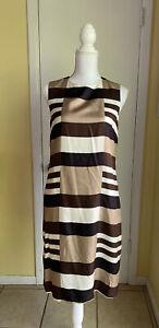 Tory Burch Dress Brown Striped Silk Sheath Dress Size 8