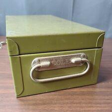 Vintage Cole Steel Equipment Company Green Metal Locking Box With Key