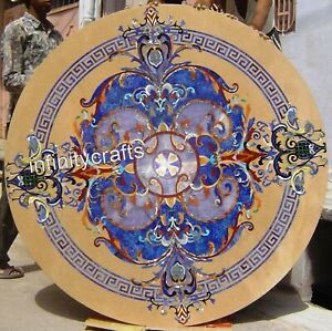 Marble Hallway Table Top Marquetry Art Dining Table from Indian Vintage Crafts