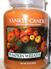 """Yankee Candle Retired Fall """"PUMPKIN WREATH"""" ~ Large 22 oz. ~ WHITE LABEL~ NEW"""