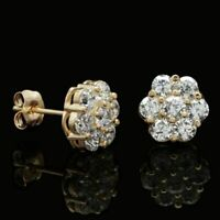 1.50 Ct Round Cut Diamond Flower Cluster Stud Earrings 14K Yellow Gold Finish