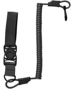Tactical Pistol Lanyard With Quick Release Belt Loop - Black