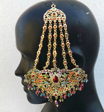 INDIAN JHUMAR PASSA HIJAB JHOOMAR HEAD PIECE UK JEWELERY HAIR BUN PIN SIDE TIKKA