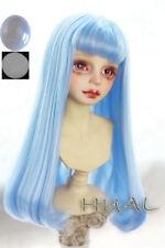 "8-9-10"" 1/3 BJD Long Light Blue Buckle End Straight Wig LUTS Doll SD MSD Hair AL"