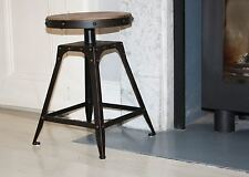 Low stool 46.5cm fixed height artisan industrial, Aged Rust colour finish