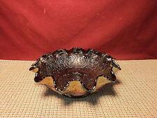 Fenton Art Glass Persian Medallion / Blackberry Ruffled Edge Blue Carnival  Bowl