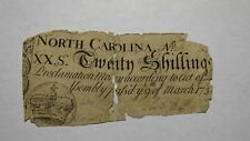 1754 Twenty Shillings North Carolina NC Colonial Currency Note Bill! RARE 20s!