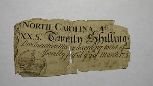 1754 Twenty Shillings North Carolina NC Colonial Currency Note Bill! RARE 20s!