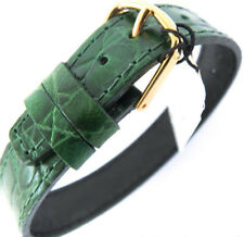 14mm ONE PIECE CABOUCHON WATCH STRAP. CROC GRAIN BOTTLE GREEN LEATHER. EASY FIT.