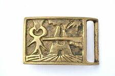 SUPER COOL MODERN ABSTRACT FIGURAL SOLID BRONZE/BRASS BELT BUCKLE