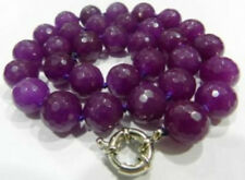 Natural! 10mm Faceted Purple Alexandrite Round Gems necklace 18'' JN881