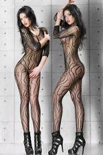Bodystocking Zebra Gestreiften Netz Sexy Overall Catsuit Schritt offen Nylon