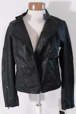 NWT Converse Womens Asymmetrical Zip Leather Moto Jacket L Black MSRP$298