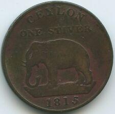 G6563 - Ceylon 1 Stuiver 1815 KM#81 SEHR RAR Elefant