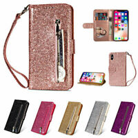 Bling Glitter Magnetic Flip Leather Wallet Case Cover For iPhone 12 Pro Max 11 X
