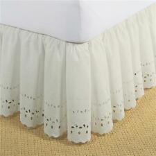 Fresh Ideas Fre30014Ivor01 Bed Skirt Ruffled Eyelet Ivory - Twin