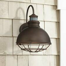 "Industrial Outdoor Light Fixture Urban Barn Bronze 14"" Motion Sensor for Porch"