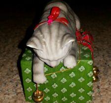 1992 Schmid Musical Box Cat on Present Jingle Bell Rock
