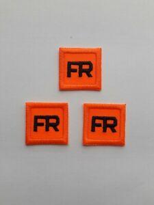 3 - Orange Replacement FR Patches Iron On Fire Retardant Pants Shirt Jacket Tag