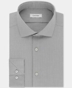 NWT $115 Calvin Klein 16.5 32/33 Men Slim-Fit Gray White Long-Sleeve Dress Shirt